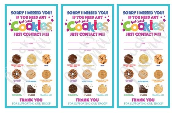 Girl Scout Cookie Door Signs Sorry We Missed You Printable
