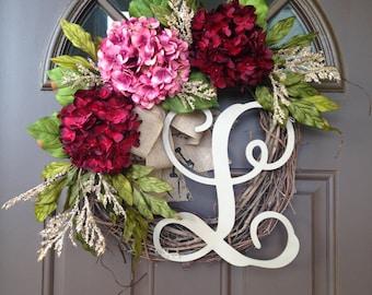 Monogram Wreath -  Initial Wreath - Front Door Decor -Spring Wreath - Summer Wreath - Monogrammed Hydrangea Wreath with Burlap Bow - Gift