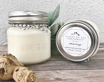 Spring Scented Candles - Spring Candles - Scented Candles - Spring Decor - Kitchen Candle - Wood Wick Candle - White Tea and Ginger