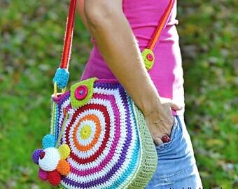 Crochet Pattern - Big rainbow bag - crochet bag pattern / flower / hippie / digital pattern / summer bag / crossbody bag