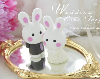 bunny Wedding Cake Topper-love rabbit and bunny with sweet heart---k908