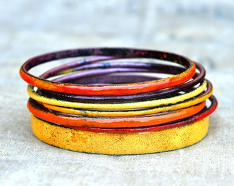 Handcrafted Bangle Set - 'Jaffa' - Orange & Tangerine Toned Enamel Bracelets