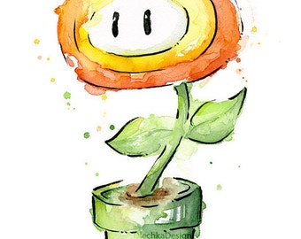 Fire Flower Watercolor Art Print Nintendo Mario Bros Painting Videogame Nintendo Supermario Geek Art Print Gamer Decor Videogame Art