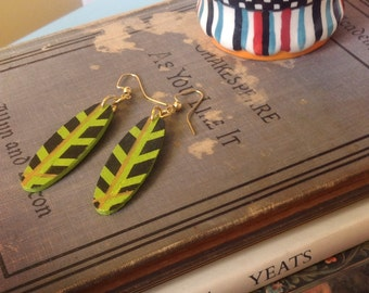 Oblong Wood Earrings | Lime Green Wooden Earrings | Striped Earrings