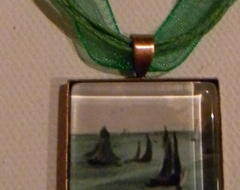 "Emerald Green Sea Ships Manet OR Edvard Munch Scream  Glass Necklace w/ 18"" ribbon"
