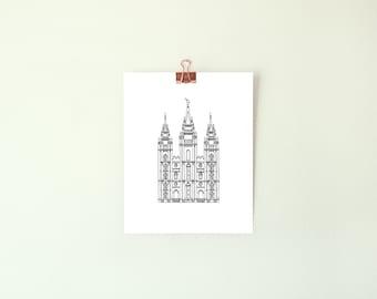8x10 Salt Lake City LDS Temple Print | SLC | Line Drawing