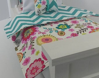 "18"" Doll Bedding Set, Floral and Teal Doll Bedding, Made to Fit 18"" Dolls Such as The American Girl Dolls"