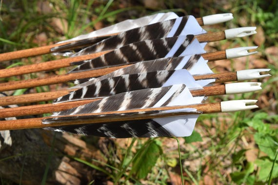 Archery arrows, Traditional wood arrows with walnut dip and black cresting