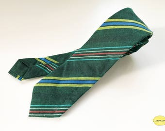 Green Stripe Necktie, Green Tie, Stripe Necktie, Vintage Necktie, Christmas Gift, Wedding