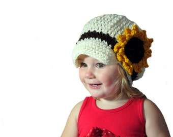 Toddler Girls Crochet Newsboy Hat, Girls Sunflower Hat, Womens Newsboy, Spring Hat, Crochet Sunflower, Knit Newsboy Hat, Infant Girls, Baby