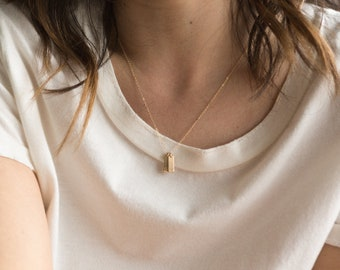 Tiny Initial Bar Tag Necklace • Custom Vertical Bar Necklace • Gifts for Mom • Silver, Gold Fill, Rose Gold •Layered and Long LN140_12_V