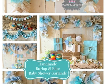 It's a Boy Baby Shower Decoration. fabric Garland Banner, Burlap Party Decor & Photo Backdrop, Handmade, Baby Boy Shower