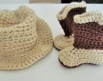 Crochet cowboy hat and boots set, cowboy hat, cowboy boots, baby cowboy hat, baby cowboy boots, photo prop, tan cowboy hat, western wear