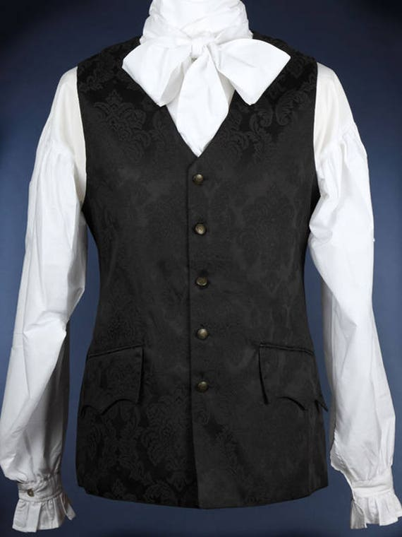 Long 18th Century Style Waistcoat - Black Damask Brocade - Chest 34 uORnd