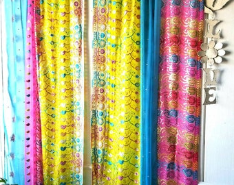 Boho Curtains Sari Saree Patchwork Gypsy Bohemian embroidery HippieWild India Scarves Silk Boho Hippie Hippy multicolor sequined pink blue