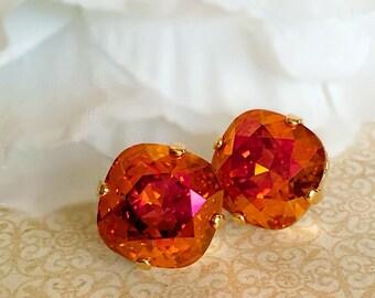 Swarovski Stud Earrings - Hot Pink and Orange Crystal Earrings - JOLIE Astral Pink