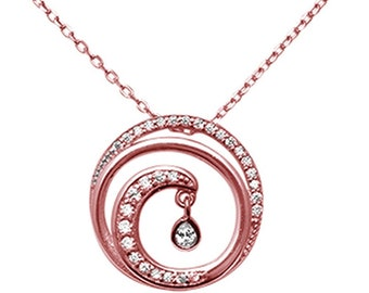 Sterling Silver .925 Rose Gold CZ Wave Necklace