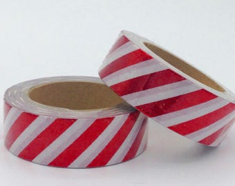 Washi tape Foil Washi Tape-white striped red - Christmas gift - packaging - decoration - wedding