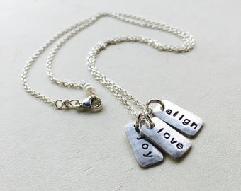 Tag Pendant, Tag Necklace, Personalized Tag, Personalized Tag Necklace, Silver Tag, Tiny Bar Necklace, Charm Necklace