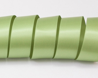 """Spring Moss Green Ribbon, Double Faced Satin Ribbon, Widths Available: 1 1/2"""", 1"""", 6/8"""", 5/8"""", 3/8"""", 1/4"""", 1/8"""""""