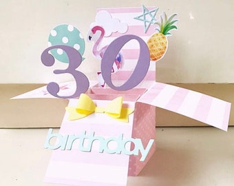 A2 size pop up birthday card in flamingo and pineapple