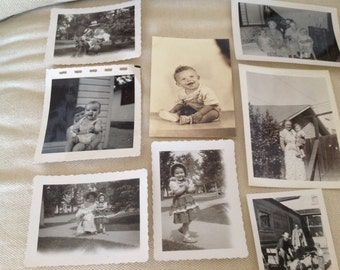 Antique Family Portraits ~ Children Babies 1950's  ~ Black and White Photos ~ Jewelry Making ~ Ephemera ~ Crafts Collage  ~ Old Photos