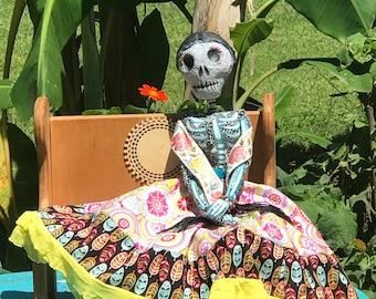 Aimara Boneybags is a Dia de los Muertos Handmade Catrina OOAK Art Doll