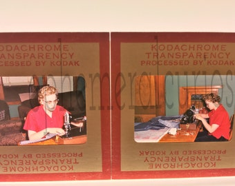Vintage Sewing Photo Slides Kodachrome Red Border SEAMSTRESS Mid Century Photos Sewing Machine 1950s Woman Tailor Fashion Vernacular Photo