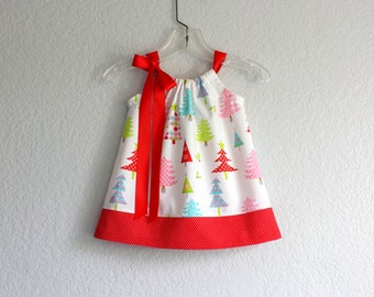 Baby Girls Christmas Dress & Bloomers Outfit - Colorful Christmas Trees on White - Baby's First Christmas - Size Nb, 3m, 6m, 9m, 12m or 18m