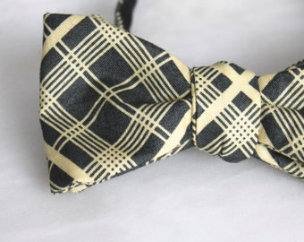 Mens and BoyscCharcoal Gray and Yellow  Plaid Bow tie - Groomsmen and wedding tie - clip on, pre-tied with strap or self tying