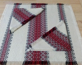 Set of table-napkins in Ukrainian traditional style Ukrainian embroidery Red Blue Green Brown