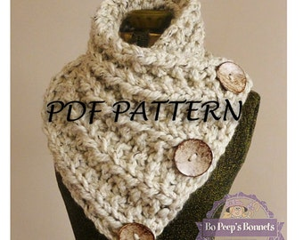 Knit Scarf  PDF PATTERN - Knitting PATTERN Chunky Button Neckwarmer Pattern - The Lancaster Scarf Pattern - Knit Cowl Pattern - Knit Pattern