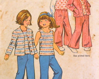 Vintage Sewing Pattern Simplicity 6185 Girl's Cardigan, top, pants Size 3 Breast 23 inches Complete