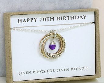 70th birthday gift, February birthstone necklace 70th, amethyst necklace for 70th birthday, gift for mom, grandma - Lilia