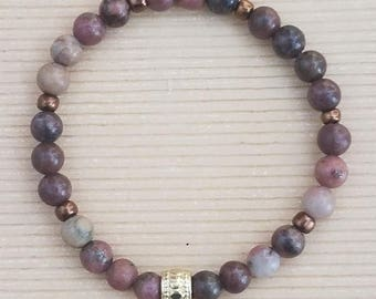 Handmade Jasper Brown Tone Beads on a Stretchy Cord Bracelet with Bronze Highlights