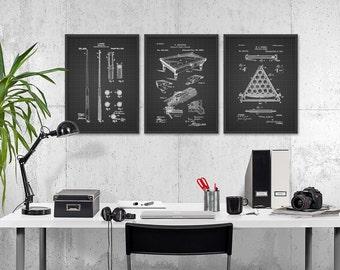 Billiards Patent Prints Set Of 3 - Billiard Inventions - Billiards Wall Art Poster - Billiards Room Patent - Pool Room Patent Poster