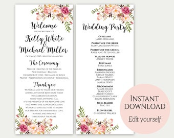 Floral Wedding Program Template Floral Program Floral - Floral wedding program templates