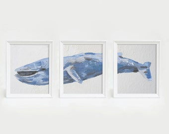 Blue Whale Print, Whale Artwork, Triptych Art Print, Set of Prints, Whale Nursery Art, Nursery Wall Decor, Bedroom Art Print, Bathroom Decor