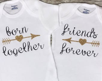 Born Together, Twin Baby Girl Onesies, Twin Baby Shower Gift, Twin Baby Girl Gift, Twin Infant Clothing, Twin Cute Baby Gift, Twin Onesies