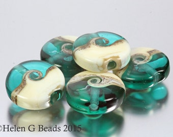 Teal and Cream Coast to Coast Seaside Style Set of 5 Beads by Helen Gorick