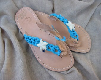"""Greek Leather Sandals """"Socrates""""- Decorated sandals,nautical sandals,Ancient Greek Sandals,Navy Rope Shoes"""