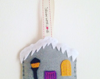Handsewn Felt Christmas House Decoration