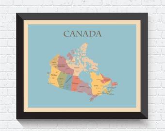 Canada Map, Canada Poster, Canada Print, Canada Art, Map of Canada, Canada Decor, Canada Map Print, Canada Wall Art, Canada Art Print