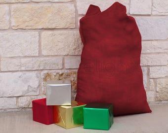 "1 - 30"" x 40"" Red Burlap Bag - Natural Burlap Bags for Christmas & Holiday Gifts - Jumbo Rustic Decor Gunny Sack - 30x40 Inch"