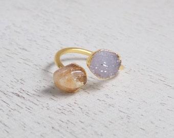 Citrine Ring, Raw Citrine Ring, Crystal Ring, Druzy Ring, Dual Stone Ring, Yellow Stone Ring, November Birthstone Gold Statement Ring, R3-18