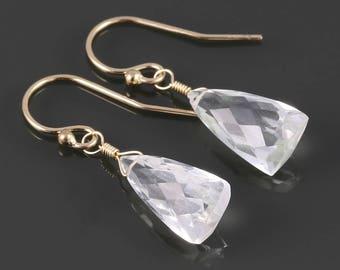 Crystal Quartz Earrings. Gold Filled Ear Wires. Triangle Shape. Genuine Gemstone. April Birthstone. s17e011