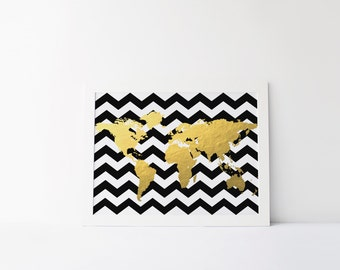 Black and White Chevron Map, Gold Foil Map, Black and Gold Map, Chevron Map, Dorm Decor, Dorm Art, Apartment  Decor