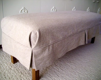 Bench Slipcover with Tailored Skirt Bedroom Bench Cover Dining Room Bench Slipcover