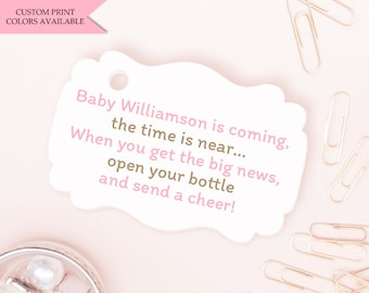 Baby is coming tag (30) - Baby is coming the time is near tags - Baby shower tags - Baby shower gift tags - Mini champagne bottle favor