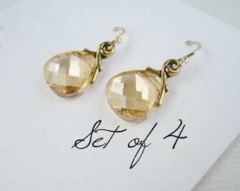 Bridesmaid earrings gold bridesmaid earrings set of 4 Swarovski crystal earrings Champagne crystal gold earrings Gold bridesmaid jewelry